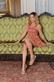 Ally Breelsen Strips On A Sofa
