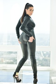 Karlee Grey In Sexy Black Catsuit
