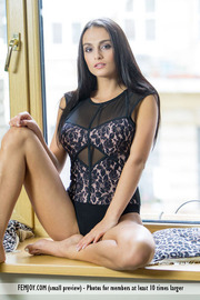 Perfect Brunette Girl Missan Gets Nude On The Window Seat