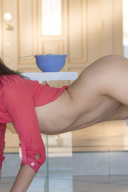 Sexy American brunette Melody Wylde starts the day with breakfast