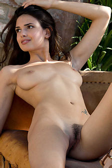 Sexy Karmen Strips In The Garden