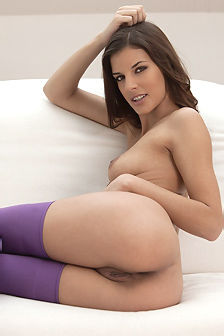 Candice Luca In Purple Stockings