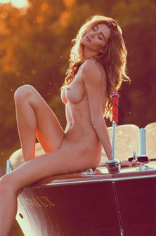 Blonde Babe Poses Naked On Boat