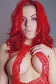 Harley Rose In Red Lingerie
