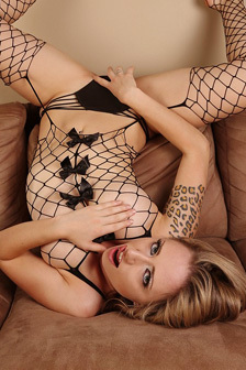 Lily Xo In Fishnet Stocking
