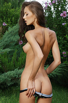 Anna AJ Posing Naked Outdoor
