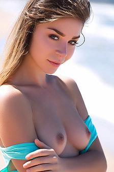 Beautiful Model Lilii Strips Near Ocean